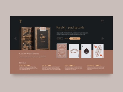 Rarebit Copper Edition Playing Cards by theory11 - Product Page portfolio mongato shop usa theory11 product card e-commerce cards design color ux illustration art rabbit premium cardistry catalog card uiux ui rarebit
