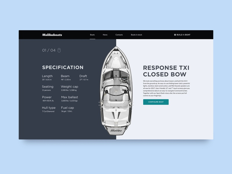 Response TXI Closed Bow - Product Page Spec boats specifications bow product card tech blue product page portfolio mongato shop design daily product card catalog color uiux ux ui boat
