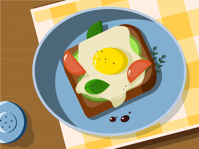 Breakfast eggs food illustration