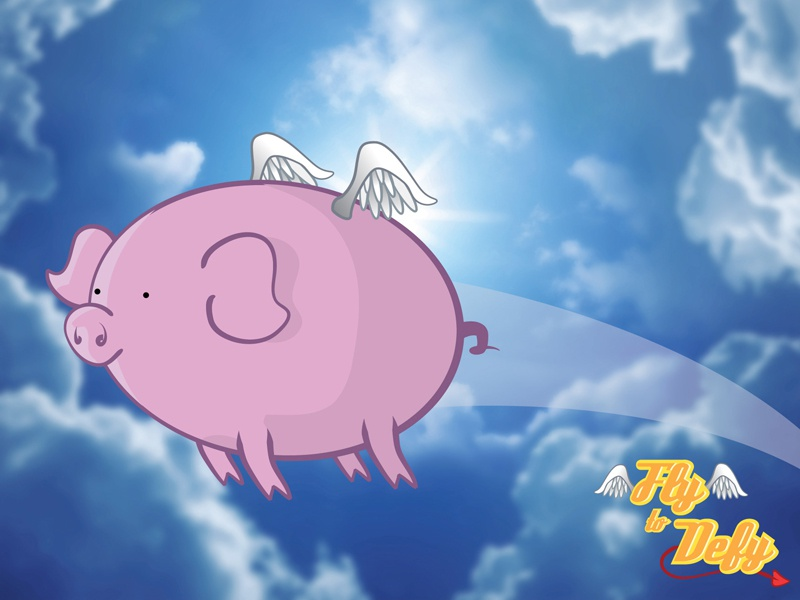 Fly to Defy pig piggy vector when pigs fly