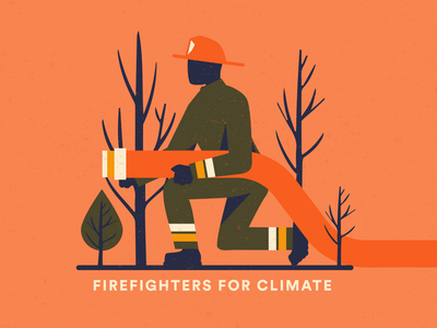 Firefighters for Climate wildfire climatechange climate firefighters fire fighter design red pink vector illustration