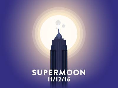 Supermoon night city super moon empire state building illustration