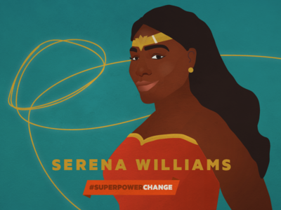 Serena Williams superhero hero athlete tennis portrait illustration color of change
