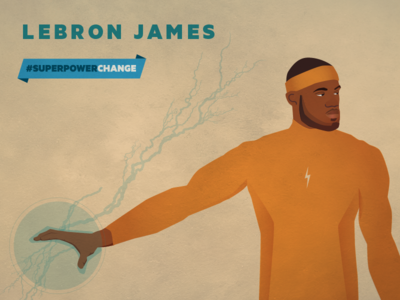 Lebron James superhero hero athlete basketball portrait illustration color of change