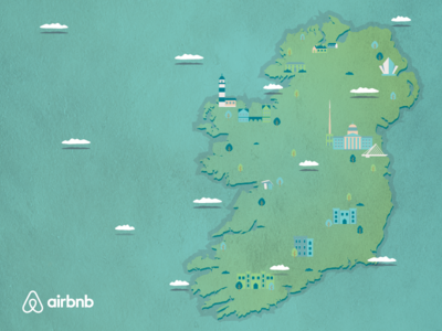 A sunny day in Ireland blue green texture airbnb vector map ireland
