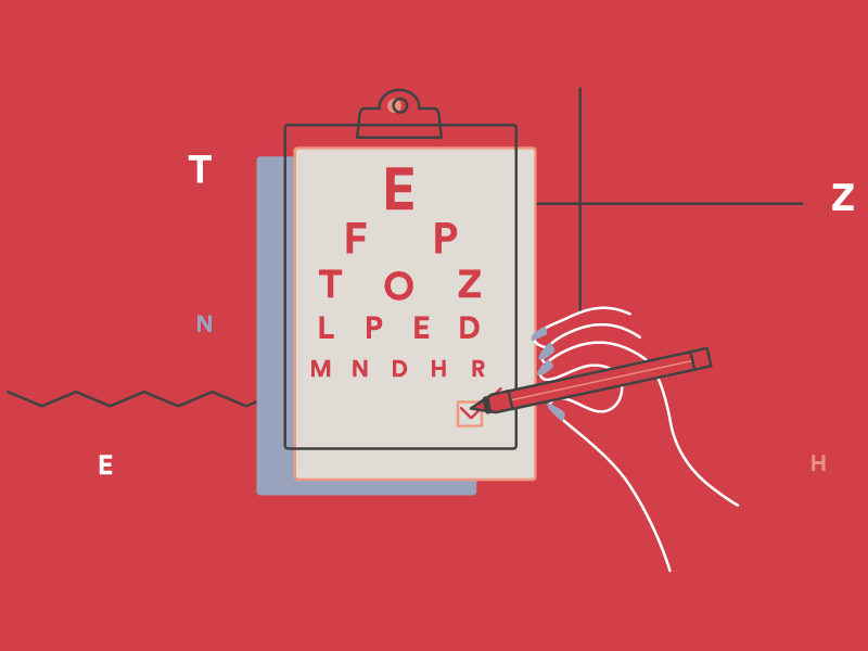 Eye health animation 2 animation see now blue red pink eye health line vector