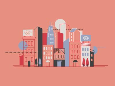 Cityscape/Eye Health animation see now blue red pink eye health line vector