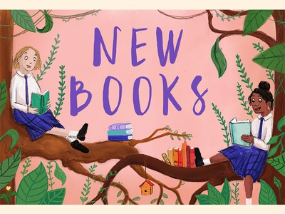 New Books Alert! girls green pink tree school books library painting