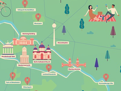 Berlin Map Detail picnic nature outdoors berlin maps airbnb illustration vector