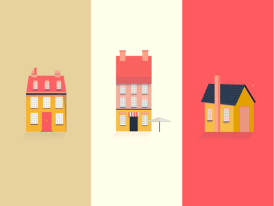 Houses in Denmark pink denmark copenhagen houses design airbnb red vector illustration
