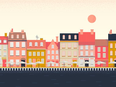 Copenhagen design tourism sun sea building houses denmark copenhagen pink vector illustration
