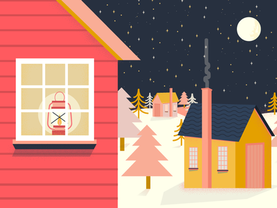 Danish Winter snow trees lamp houses hygge winter cabin design pink red vector illustration