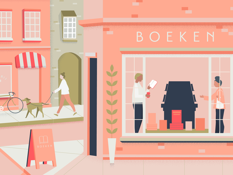 Oud-West dog town city peach pink boeken bakery bookshop amsterdam vector airbnb