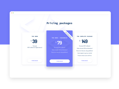 Pricing section - E-book Landing page