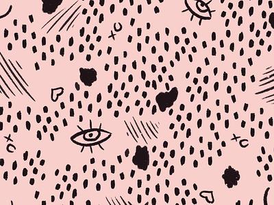 Hand drawn patterns polka dot polkadot mark making heart xo procreate drawn scribble feminine pattern organic pink