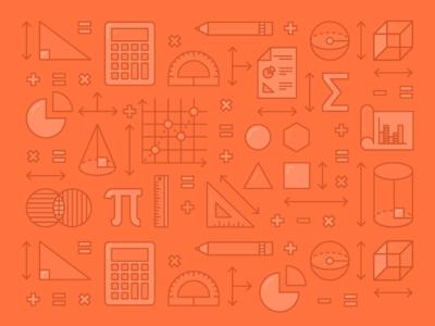 STEM: Math illustration icons venn diagram graph cube triangle pencil protractor calculator geometry school math