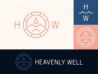 Heavenly Well Logo Lockups ocean identity sea waves wellness healing water well branding logo