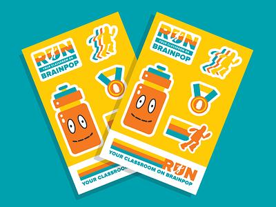 BrainPOP Stickers water bottle exercise medal marathon run running school brainpop stickermule stickers education