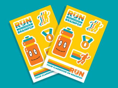 BrainPOP Stickers water bottle exercise medal marathon run running school brainpop stickermule stickers education