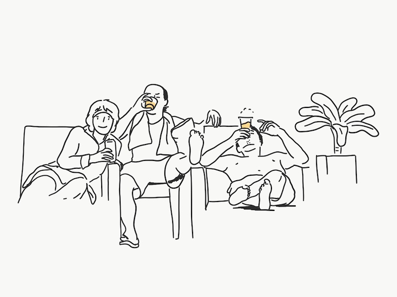 family family beer holiday picture memory illust drawing