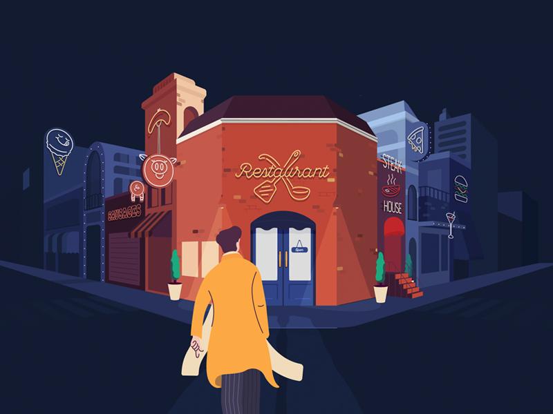 a suspicious resturant neon pig broadcast tv styleframe restaurant motiongraphic illustration illustrate