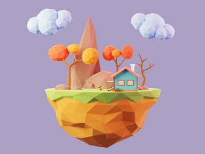Low Poly Island modeling nature cute colorful 3d design 3d art 3d illustration island low poly