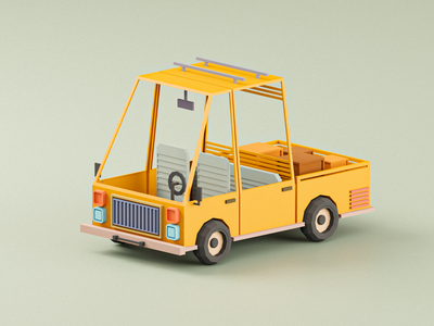 Yellow Truck 3d model colorful yellow truck vehicle 3d art 3d low poly