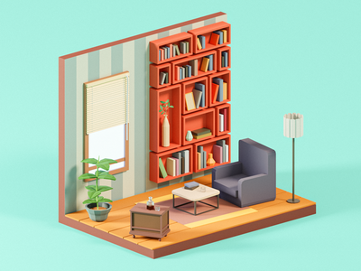 Reading Room library reading read books book illustration cute 3d 3d art 3d design colorful low poly