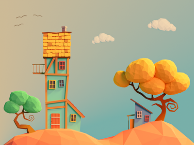 Hill House colors blender lowpoly trees hill house 3d illustration cute illustration 3d design colorful 3d art 3d low poly