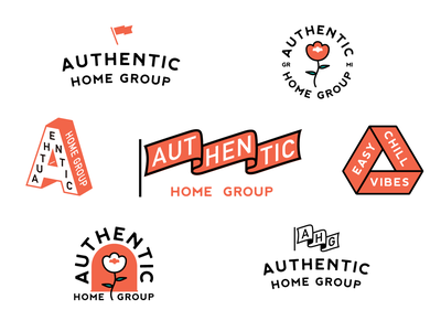 Authentic Home Group 2 orange vector design realtor real estate badge branding logo