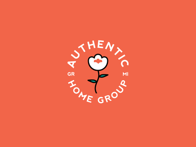 Authentic Home Group 4 orange flower vector design realtor real estate badge branding logo