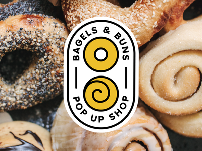 Bagels and Buns design vector yellow buns bagel badge branding logodesign logo