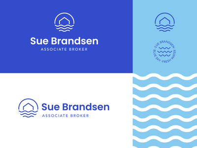 Sue Brandsen badge wavy waves blue realtor real estate lakeshore branding logodesign logo