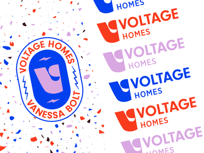 Voltage Homes Badge and Logo realtor logo real estate terrazzo realtor badge brand logo