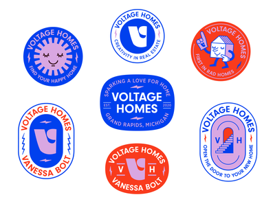 Voltage Homes Brand sticker character vector real estate realtor branding brand badge logo