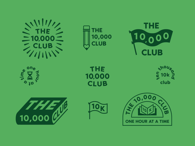 The 10,000 Club branding education green badge logo club