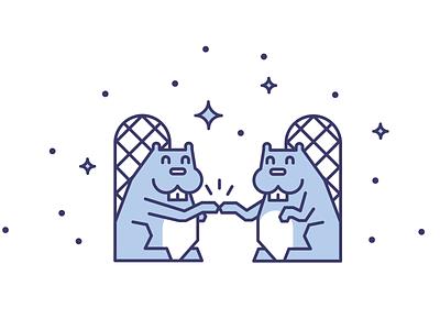 Busy Beaver fist bump beaver vector blue title illustration icon