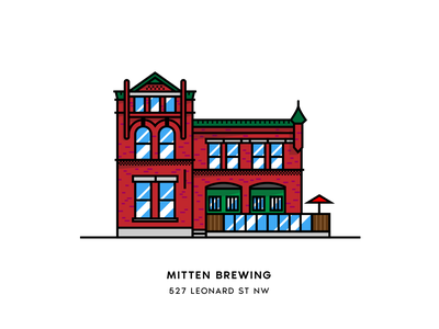 Mitten Brewing beer city illustration architecture vector brewery