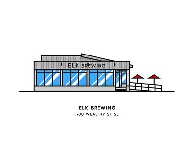 Elk Brewing beer city illustration vector architecture brewery grand rapids beer