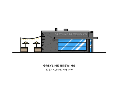 Greyline Brewing Co. beer city grand rapids illustration vector architecture building brewery beer