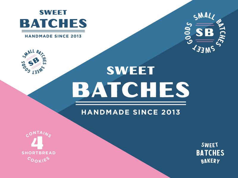 Sweet Batches branding blue pink badge logo vintage bakery sweet batches
