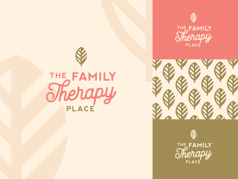 Therapy therapy leaf gold pink design branding logo