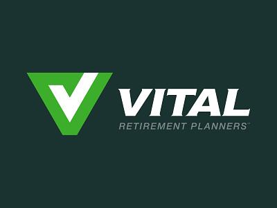 Vital logo on a dark background branding finance retirement