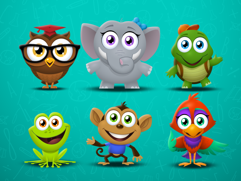 Timely Tutor Characters vector illustrations characters animals app cartoon