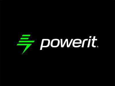 powerit logo revision icon illustration vector branding design batteries electricity green power bolt logo