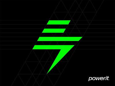 powerit bolt geometry electricity energy bolt brand vector illustration logo