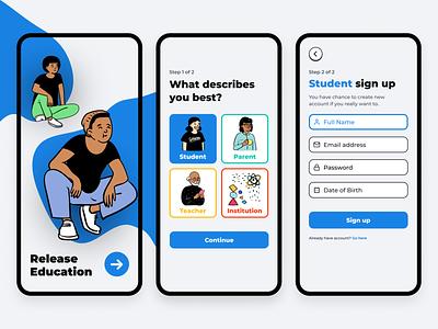 Education App Onboarding illustration choices form start registration sign up onboarding splash clean app mobile design ux ui