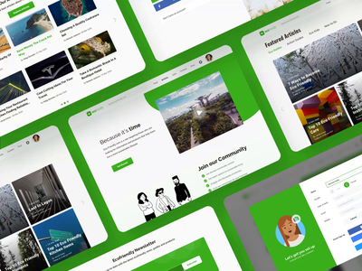 Ecofriendly.com Community Website ecology product network social search activity feed sign up profile page videos articles illustration clean community website design ux ui