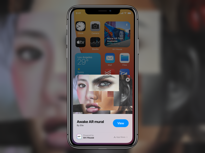 iOS 14 App Clips Product Opportunity: Art House arcore camera app camera streetart art ios14 augmented reality ar arkit appclips clips app mobile clean design ux ui