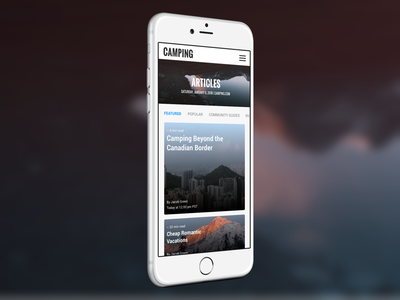 Camping Articles Mobile atomic fluent responsive ux ui design mobile featured camping articles